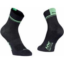 Northwave Logo 2, fekete/lime fluo zokni