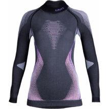 UYN Lady Evolutyon UW Shirt LG SL Turtle Neck Melange, anthracite melange-raspberry-purple aláöltöző felső