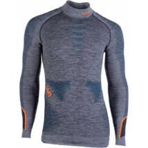 UYN Man Ambityon UW Shirt LG SL Melange Turtleneck, black melange-atlantic-orange shiny aláöltöző felső