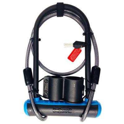 OnGuard Neon 230x115 mm, kék U-lakat + 120 cm hurokkábel
